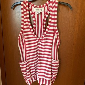 Billabong red and white striped tank top